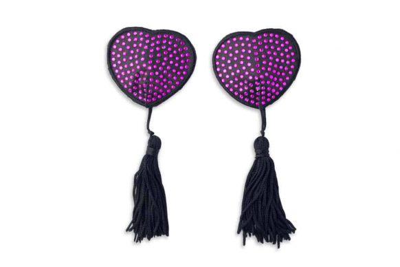 Nálepky na bradavky ve tvaru srdce fialové