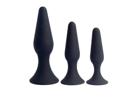 Set silikonových černých análních kolíků